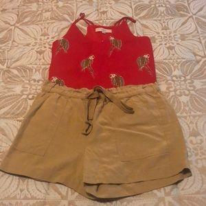 NWT LOFT tan drawstring shorts S